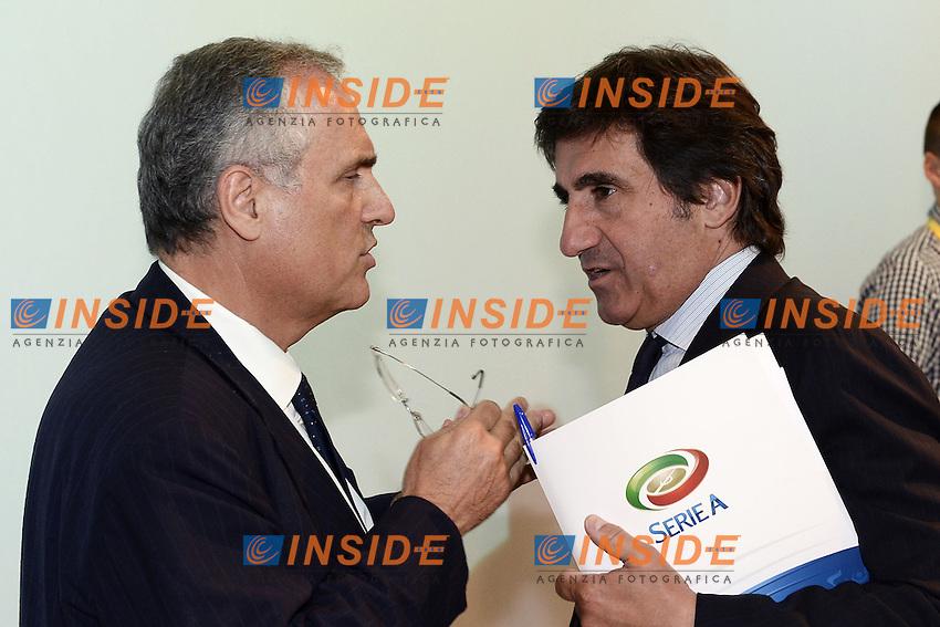 Milano 28/07/2014 - presentazione calendari serie A stagione 2014-2015 / foto Daniele Buffa/Image Sport/Insidefoto<br /> nella foto: Claudio Lotito-Urbano Cairo