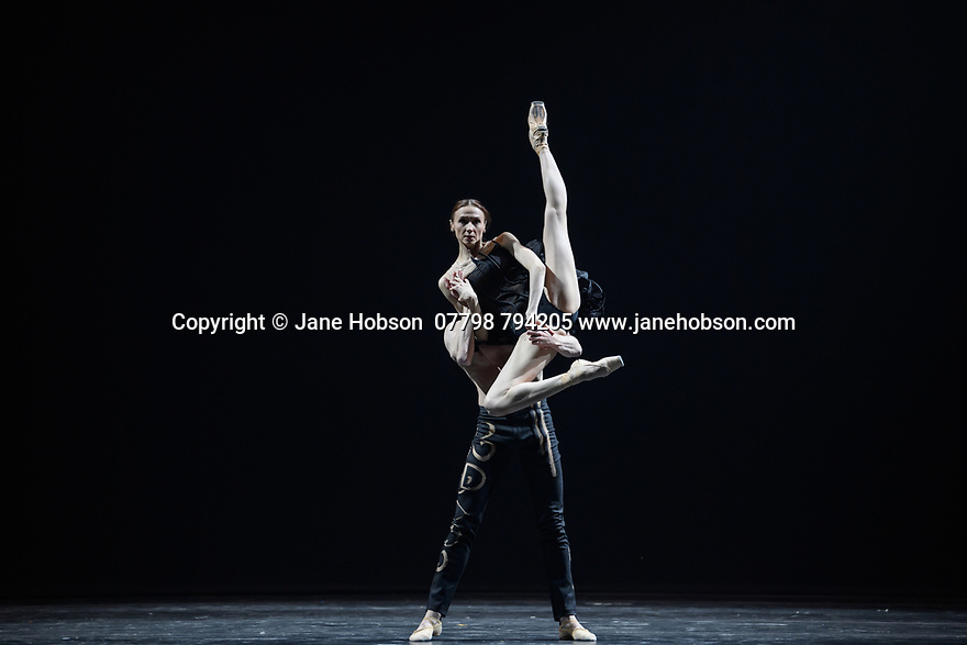 "Svetlana Zakharova, the Bolshoi's Prima and the first and only Russian Etpile at Teatro alla Scala, returns to the London Coliseum, with MODANSE, a new double bill produced by Muzarts. Zakharova is joined on stage by a cast of dancers from the Bolshoi Ballet, including Mikhail Lobukhin, Vaycheslav Lopatin, Denis Savin, Jacopo Tissi and Ana Turazashvili. The piece shown is: 'Come un Respiro"" (Like a Breath), choreographed by Mauro Bigonzetti, in its UK premiere. The dancers are: Svetlana Zakharova, Denis Savin, Jacopo Tissi, Mikhail Lobukhin, Vyacheslav Lopatin, Ana Turazashvili, Anastasia Stashkevich, Victoria Litvinova, Marfa Fyodorova, Tatiana Osipova, Anita Pudikova, Anna Zakaraya, Karim Abdullin, Alexei Gaynutdinov, Anton Gaynutdinov. Picture shows: Svetlana Zakharova, Denis Savin."