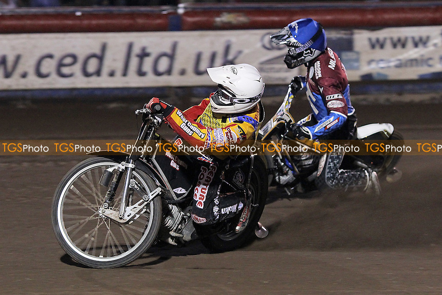 Heat 9: Kim Nilsson (blue) and Ben Barker - Lakeside Hammers vs Eastbourne Eagles - Sky Sports Elite League Speedway at Arena Essex Raceway, Purfleet - 17/08/12 - MANDATORY CREDIT: Gavin Ellis/TGSPHOTO - Self billing applies where appropriate - 0845 094 6026 - contact@tgsphoto.co.uk - NO UNPAID USE.