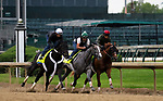 April 28, 2019 : Win Win Win (left, outside horse) joins Tacitus (center) and Country House (right, rail horse) in their final breeze before the Kentucky Derby at Churchill Downs, Louisville, Kentucky. Mary M. Meek/ESW/CSM