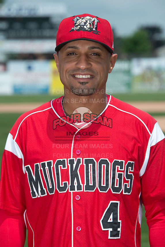 Batavia Muckdogs manager Angel Espada (4) poses for a photo during media day on June 10, 2014 at Dwyer Stadium in Batavia, New York.  (Mike Janes/Four Seam Images)