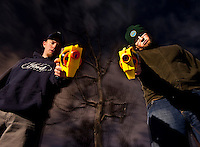 Vinny and Ryan prepare to execute with Nerf Guns.
