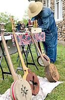 Courtesy photo<br /> Doug Crane of Joplin displays his talent in creating banjos at the recent New Bethel Heritage Festival. Crane has built more than 100 banjos.