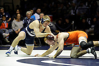 STATE COLLEGE, PA -DECEMBER 19: Cody Law of the Penn State Nittany Lions wrestles David Wesley of the Virginia Tech Hokies in their 157 pound bout on December 19, 2014 at Recreation Hall on the campus of Penn State University in State College, Pennsylvania. Penn State won 20-15. (Photo by Hunter Martin/Getty Images) *** Local Caption *** Cody Law;David Wesley