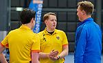 ROTTERDAM  - NK Zaalhockey,   wedstrijd om brons.  heren Oranje Rood- Kampong. OR wint.  scheidsrechters Stevan Bakker, Coen van Bunge,        COPYRIGHT KOEN SUYK