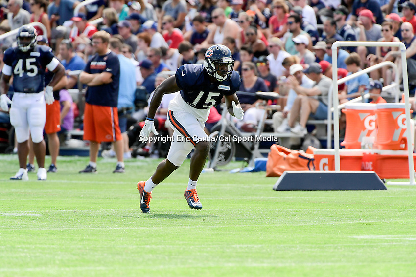 Monday, August 8, 2016: Chicago Bears wide receiver Darrin Peterson (15) runs a route during a joint training camp session between the Chicago Bears and the New England Patriots held at Gillette Stadium in Foxborough Massachusetts. Eric Canha/CSM