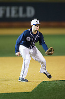 Georgetown Hoyas third baseman Ryan Weisenberg (15) on defense against the Wake Forest Demon Deacons at David F. Couch Ballpark on February 19, 2016 in Winston-Salem, North Carolina.  The Demon Deacons defeated the Hoyas 3-1.  (Brian Westerholt/Four Seam Images)