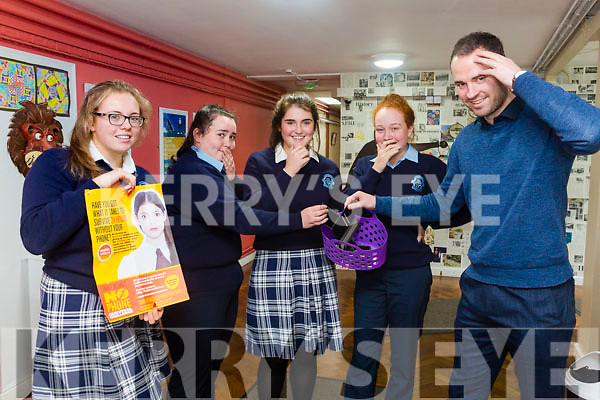 Presentation Secondary School Castleisland launching a 24 hour No Phone challenge to raise funds for Enable Ireland. Pictured l-r Mary Healy, Siobhan Brosnan, Moya Sheehan, Laura Daly and Pierce Dargan Teacher
