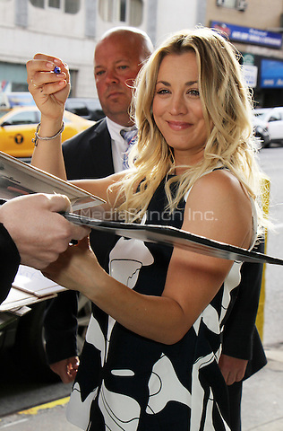 NEW YORK, NY - MAY 10: Kaley Cuoco seen at CBS This Morning promoting her hit CBS series The Big Bang Theory on May 10, 2016 in New York City. Credit: RW/MediaPunch