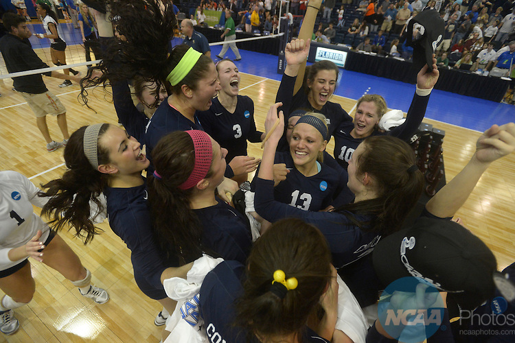08 DEC 2012:  Players from Concordia University-St. Paul celebrate after winning the final game against the University of Tampa during the Division II Women's Volleyball Championship held at the West Florida Field House in Pensacola, FL. Concordia defeated Tampa 3-2 to become national champions. Peter Lockley/NCAA Photos
