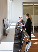 Zoe Campbell '22 and Meighann Mahoney '19<br /> Occidental College's newly remodeled Department of Athletics offices on March 13, 2019.<br /> (Photo by Marc Campos, Occidental College Photographer)