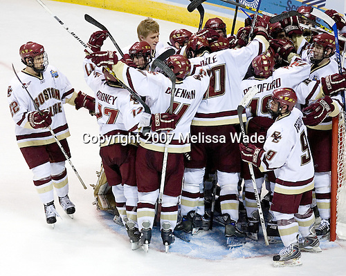 BC celebrates. The Boston College Eagles defeated the University of North Dakota Fighting Sioux 6-4 in their 2007 Frozen Four semi-final on Thursday, April 5, 2007, at the Scottrade Center in St. Louis, Missouri.