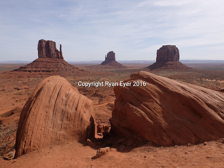 "MONUMENT VALLEY - 14 March 2016 - Arizona -A Monument Valley panorama, showing the ""Mittens"". The valley is part of the Colorado Plateau characterized by a cluster of vast sandstone buttes, the largest reaching 1,000 ft (300 m) above the valley floor. It is located on the southern border of the state of Utah with northern border of the state of Arizona.Picture: Ryan Eyer"