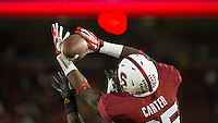 Stanford, CA -- September 21, 2013:  Stanford's Alex Carter makes an interception to end the game against Arizona State at Stanford Stadium. Stanford defeated the Sun Devils 42 - 28.