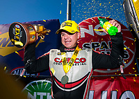 Oct 14, 2019; Concord, NC, USA; NHRA top fuel driver Steve Torrence celebrates after winning the Carolina Nationals at zMax Dragway. Mandatory Credit: Mark J. Rebilas-USA TODAY Sports