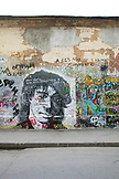 RUSSIA, Moscow. Tsoi Wall, a graffiti covered wall off Arbat Street, dedicated to musician Viktor Tsoi and his band Kino.