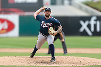 Reno Aces relief pitcher Joey Krehbiel (12) pitching during a game against the Fresno Grizzlies at Chukchansi Park on April 8, 2019 in Fresno, California. Fresno defeated Reno 7-6. (Zachary Lucy/Four Seam Images)