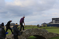 Victor Perez (FRA) crosses the Swilken bridge on the 18th during Round 4 of the Alfred Dunhill Links Championship 2019 at St. Andrews Golf CLub, Fife, Scotland. 29/09/2019.<br /> Picture Thos Caffrey / Golffile.ie<br /> <br /> All photo usage must carry mandatory copyright credit (© Golffile | Thos Caffrey)