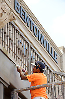 NWA Democrat-Gazette/BEN GOFF @NWABENGOFF<br /> Mario Cosajay with Burnett Painting Contractors in Springdale works on Monday Sept. 28, 2015 to prep the facade of Bentonville City Hall for a fresh coat of paint.