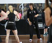 06.10.2013 Silver Fern coach Waimarama Taumaunu in action during the Silver Ferns training in Melbourne, Australia. Mandatory Photo Credit ©Michael Bradley.