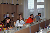 Riga, Latvia. Students on chemistry lesson in a modern, well-equipped laboratory.