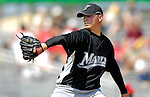 28 February 2007: Florida Marlins' pitcher Scott Olsen in action during a pre-season Grapefruit League game against the St. Louis Cardinals on Opening Day for Spring Training at Roger Dean Stadium in Jupiter, Florida. The Cardinals and Marlins share Roger Dean Stadium and the training facilities which opened in 1998 as a co-development between the Cardinals and the Montreal Expos.<br /> <br /> Mandatory Photo Credit: Ed Wolfstein Photo