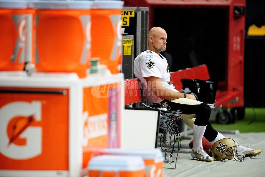 Oct. 10, 2010; Glendale, AZ, USA; New Orleans Saints kicker John Carney prior to the game against the Arizona Cardinals at University of Phoenix Stadium. Mandatory Credit: Mark J. Rebilas-
