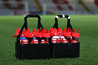 Drinks bottles on the pitch during Stevenage vs Brighton & Hove Albion Under-21, Checkatrade Trophy Football at the Lamex Stadium on 7th November 2017