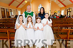Pupils from Cillín Liath NS Dromid making their 1st Holy Communion in The Church of Our Lady of the Valley on Saturday were front l-r; Tara Ní Shúilleabháin, Céile Ní Ríordáin, Shauna Ní Chonchúir, back l-r; Fr John Keirn & Elaine Joy.