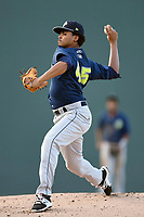 Starting pitcher Harol Gonzalez (45) of the Columbia Fireflies delivers a pitch in a game against the Greenville Drive on Thursday, June 15, 2017, at Fluor Field at the West End in Greenville, South Carolina. Columbia won, 7-2. (Tom Priddy/Four Seam Images)