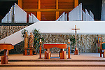 The Roman Catholic Church bought the Crystal Cathedral out of bankruptcy in 2011 and is currently transforming the iconic campus into a cathedral. Construction on Christ Cathedral will be complete in 2016. Religious statues and a cross are on display at the altar in the Arboretum on the campus in Garden Grove, California, seen August 5, 2014. <br /> CREDIT: Kendrick Brinson for The Wall Street Journal<br /> OCTV