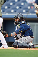 New Orleans Baby Cakes catcher Ramon Cabrera (38) awaits the pitch during a game against the Nashville Sounds on April 30, 2017 at First Tennessee Park in Nashville, Tennessee.  The game was postponed due to inclement weather in the fourth inning.  (Mike Janes/Four Seam Images)