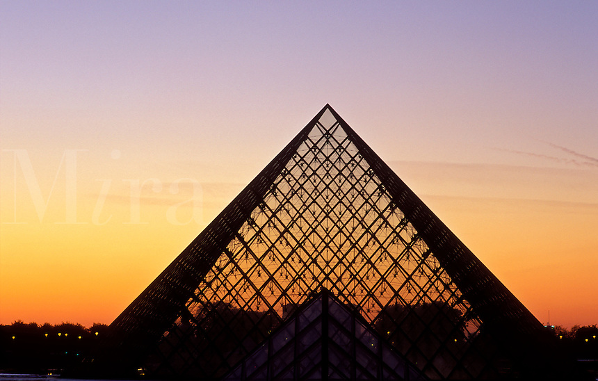 France, Paris, The Louvre, The pyramid by I M Pei