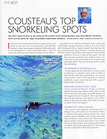 Snorkeling in the Cook Islands image used in Jean Micheal Cousteau's column in ISLANDS magazine.