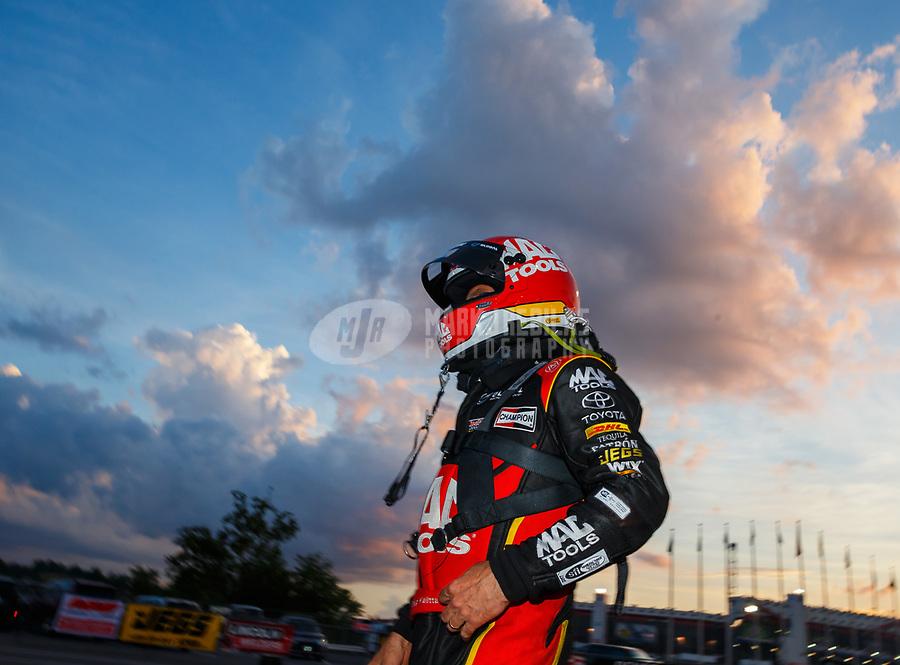 Jun 16, 2017; Bristol, TN, USA; NHRA top fuel driver Doug Kalitta during qualifying for the Thunder Valley Nationals at Bristol Dragway. Mandatory Credit: Mark J. Rebilas-USA TODAY Sports