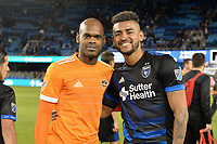 San Jose, CA - Saturday April 14, 2018: Adolfo Machado, Anibal Godoy during a Major League Soccer (MLS) match between the San Jose Earthquakes and the Houston Dynamo at Avaya Stadium.