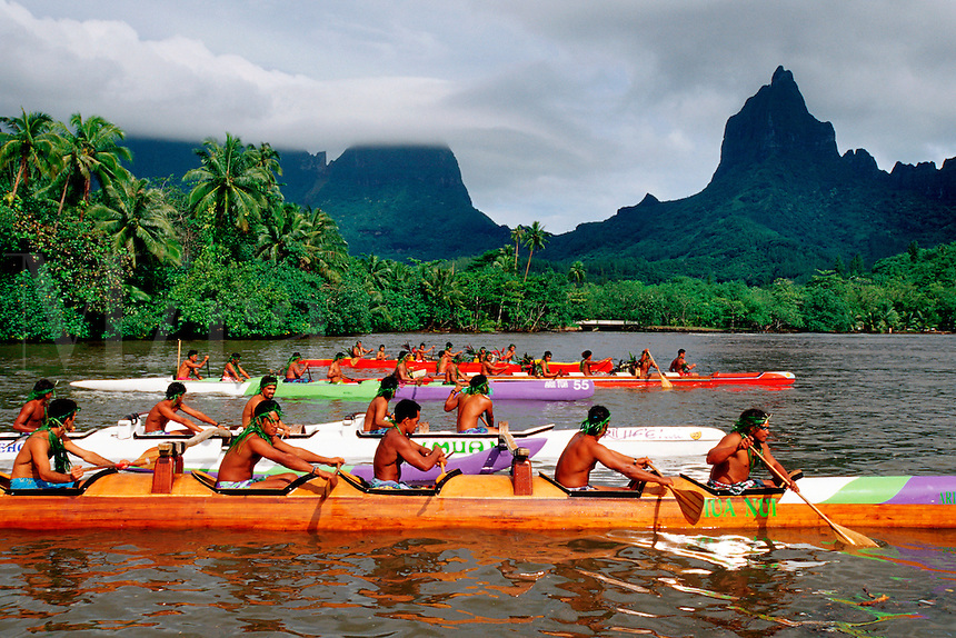 The tropical Pacific is home to outrigger canoe racing at its finest. It is not only a sport, but a national pastime, Moorea, French Polynesia.