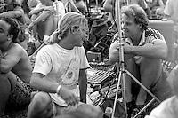 Friend Glenn Lally in convo in the Tapers Pit. The Grateful Dead at Pine Knob Music Theatre, Clarkston, MI on 20 June 1991
