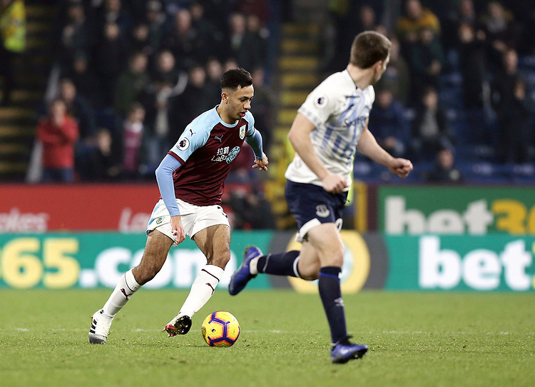 Burnley's Dwight McNeil looks to run beyond Everton's Seamus Coleman<br /> <br /> Photographer Rich Linley/CameraSport<br /> <br /> The Premier League - Burnley v Everton - Wednesday 26th December 2018 - Turf Moor - Burnley<br /> <br /> World Copyright © 2018 CameraSport. All rights reserved. 43 Linden Ave. Countesthorpe. Leicester. England. LE8 5PG - Tel: +44 (0) 116 277 4147 - admin@camerasport.com - www.camerasport.com