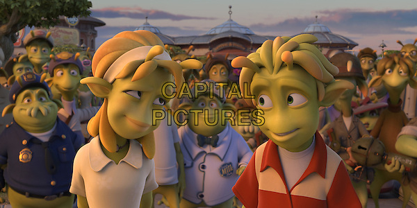 "SCENE - ""Neera"" voiced by Jessica Biel & ""Lem"" voiced by Justin Long .in Planet 51 .*Filmstill - Editorial Use Only*.CAP/FB.Supplied by Capital Pictures."