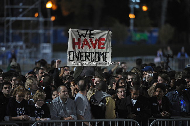 Crowds wait for Barack Obama to be declared the victor in the 2008 American presidential election and give a victory speech to a gathering of eager supporters in Grant Park in Chicago, Illinois on November 4, 2008.