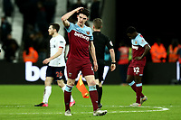 29th January 2020; London Stadium, London, England; English Premier League Football, West Ham United versus Liverpool; A dejected Declan Rice of West Ham United after the 0-2 loss