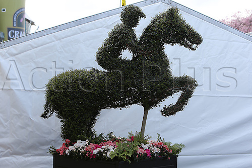 09.04.2016. Aintree, Liverpool, England. Crabbies Grand National Festival Day 3. Topiary of horse and jockey greets racing fans at the entrance to Aintree.