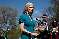 Kellyanne Conway speaks with reporters