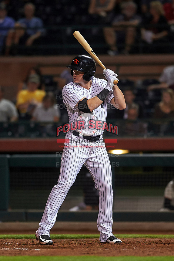 Scottsdale Scorpions shortstop Kyle Holder (43), of the New York Yankees organization, at bat during an Arizona Fall League game against the Mesa Solar Sox on October 23, 2017 at Scottsdale Stadium in Scottsdale, Arizona. The Solar Sox defeated the Scorpions 5-2. (Zachary Lucy/Four Seam Images)