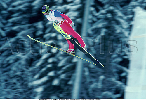 M. JOHANSEN (NOR)) 7th Place, K120, Ski Jumping, Winter Olympics, 92, Courchevel. Photo: Chris Barry/Action Plus...1992.jump.olympic games.speed.skiing.skier.ski jumping.ski-jump.ski-jumping.winter sport.winter sports.wintersport.wintersports.nordic.skijump ski-jump ski jumper jumping jump