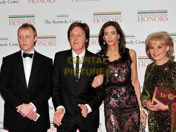 James McCartney, Paul McCartney, Nancy Shevell, and Barbara Walters.The formal Artist's Dinner at the United States Department of State in Washington, D.C., USA..December 4th, 2010.half length black dress suit tuxedo married husband wife green purple lace .CAP/ADM/RS.©Ron Sachs/CNP/AdMedia/Capital Pictures.