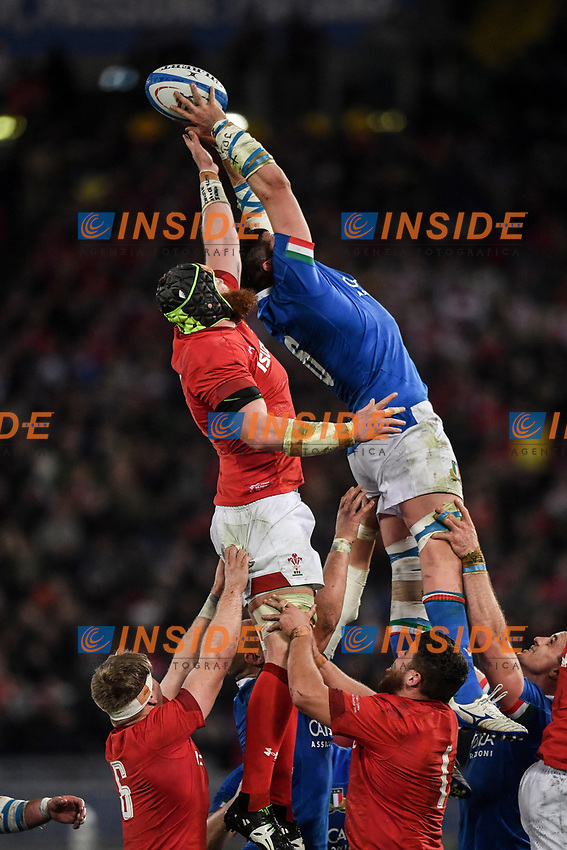 Touche Sebastian Negri Italy, Jake Ball Wales <br />  <br /> Roma 9-02-2019 Stadio Olimpico<br /> Rugby Six Nations tournament 2019  <br /> Italy - Wales <br /> Foto Antonietta Baldassarre / Insidefoto