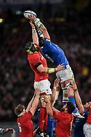 Touche Sebastian Negri Italy, Jake Ball Wales <br />  <br /> Roma 9-02-2019 Stadio Olimpico<br /> Rugby Six Nations tournament 2019  <br /> Italy - Wales <br /> Foto Antonietta Baldassarre / Insidefoto