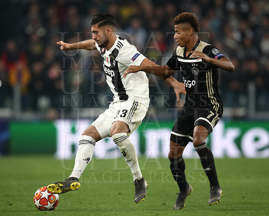 Football Soccer: UEFA Champions UEFA Champions League quarter final second leg Juventus - Ajax, Allianz Stadium, Turin, Italy, March 12, 2019. <br /> Juventus' Emre Can (l) in action with Ajax's David Neres (r) during the Uefa Champions League football match between Juventus and Ajax  at the Allianz Stadium, on March 12, 2019.<br /> UPDATE IMAGES PRESS/Isabella Bonotto